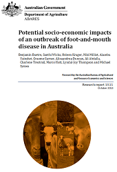 Front page of Potential socio-economic impacts of an outbreak of foot-and-mouth disease in Australia